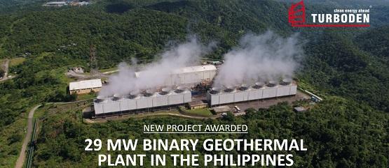 Sistema ORC geotermico da 29 MW per EDC, Filippine