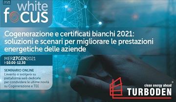 Seminario online: Cogenerazione e certificati bianchi 2021